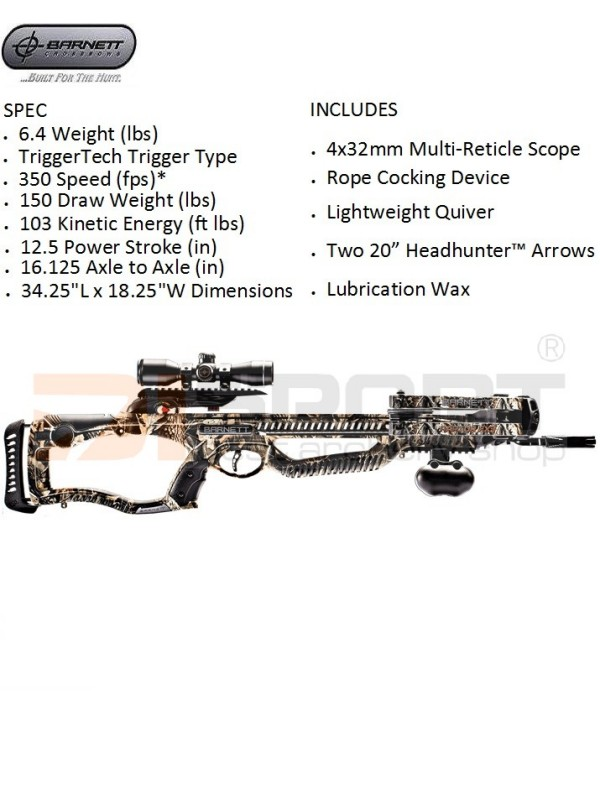 SAMOSTREL BARNETT RAPTOR FX 3  350 fps 150# SET 4x32 scope