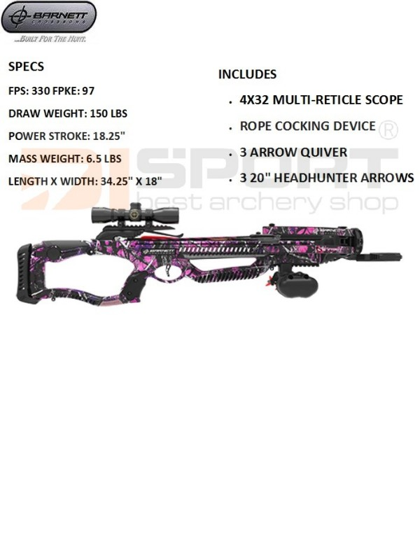 SAMOSTREL BARNETT LADY RAPTOR FX 330 150# SET 4x32 scope